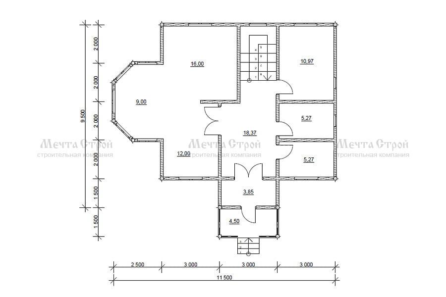 дом 11.5x9.5 - схема