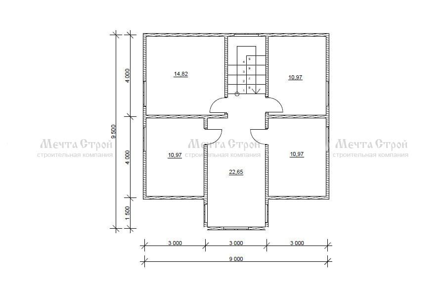 каркасно-щитовой дом 11.5x9.5