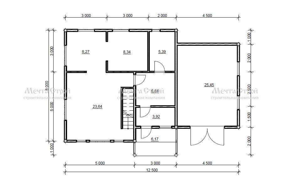 дом 12.5x8.0 - схема
