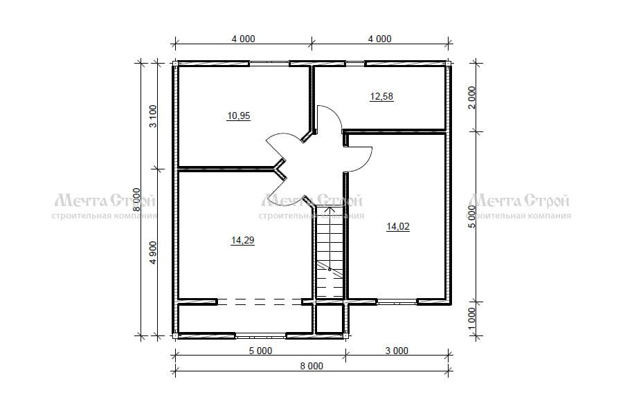 каркасно-щитовой дом 12.5x8.0