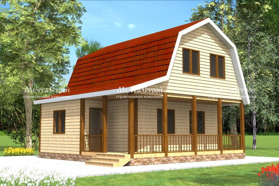 Двухэтажный дом из бруса 7.5 на 7.5 с мансардой, террасой, верандой, проект «Фома» | МечтаСтрой